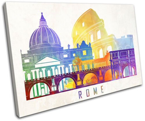 Rome Colourful Abstract Grunge City SINGLE TOILE murale ART Photo Print