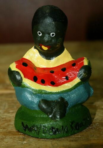 Cast Iron Antique Style Boy Eating WATERMELON Southern Americana Black