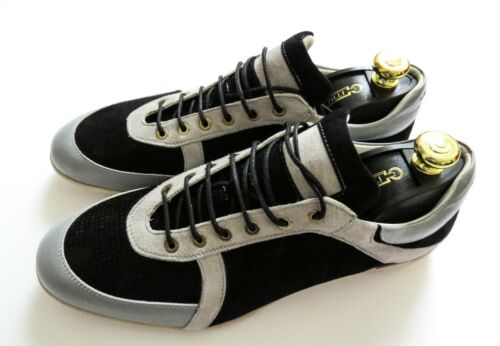 NEW ZILLI Black Gray Suede Leather Sneakers Shoes Size 44.5 Euro 11.5 US 10.5 UK