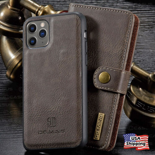 For Iphone 11/12 Pro Max Leather Removable Wallet Magnetic Flip Card Case Cover