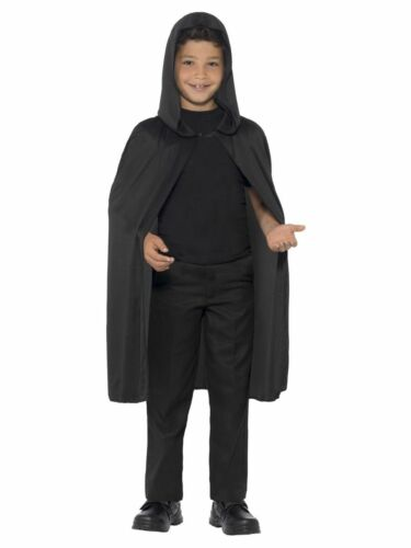 Childs Fancy Dress Hooded Cape Black Kids Book Day Cloak With Hood New