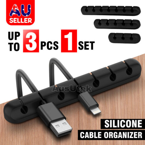 3 Pack Silicone Adhesive Charging Cable Management Clips Wire Holder Organizer