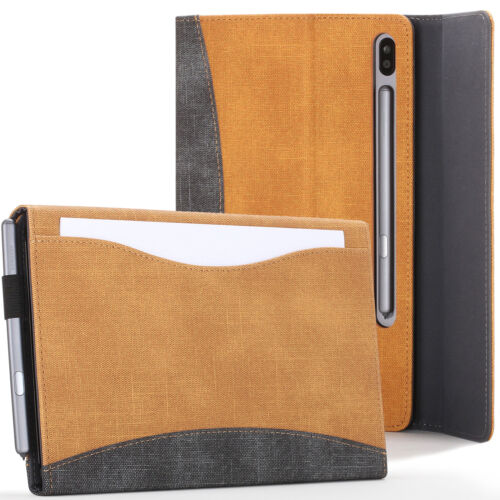 Samsung Galaxy Tab S6 10.5 Case Cover Stand with Document Pocket - Tan + Stylus