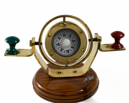 Vintage Style Brass Antique Marine Wooden Base Binnacle Floating Dial Compass.