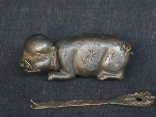 Collect China Old Bronze Handmade Carving Pig Lock and key Furniture Decoration
