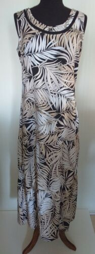 Millers Womens Sz10 Black/Beige/White Palms Sleeveless Tiered Maxi Dress NWT