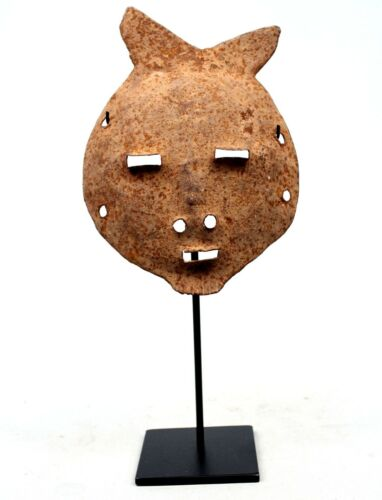 Art African Arts Tribal - Antique Mask Forged Iron Mossi On Base - 31 CMS