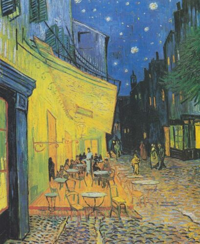 Cafe Terrace at Nigh Vincent Van Gogh Painting Canvas Print Wall Art Small 8x10