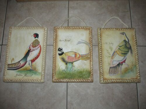 Vtg Wildlife Wall Pictures~Painted~CABIN~LODGE Decor~Pheasant, Turkey-Set of 3