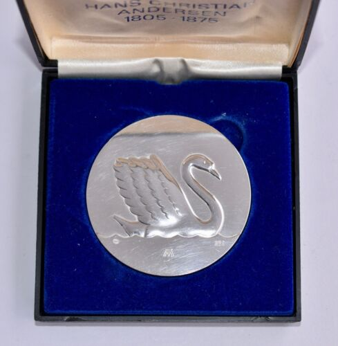 Boxed Georg Jensen Sterling Silver Medal Hans Christian Andersen - Ugly Duckling