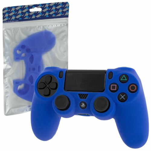 Protective cover for PS4 Sony controller with ribbed handle - Blue   ZedLabz