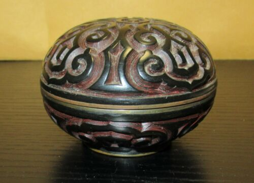 GURI TIXI CHINESE CARVED CINNABAR BLACK LAYERED LACQUER ENAMEL JAR BOX
