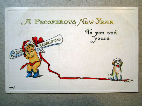 Postcard Prosperous New Year Nude Child Dog Artist signed M Dulk To You 1590