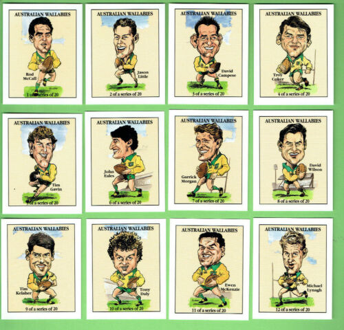 #PP.   SET(20) OF  AUSTRALIAN WALLABIES  RUGBY UNION  CHARACTER CARDSRugby Union Cards - 2969