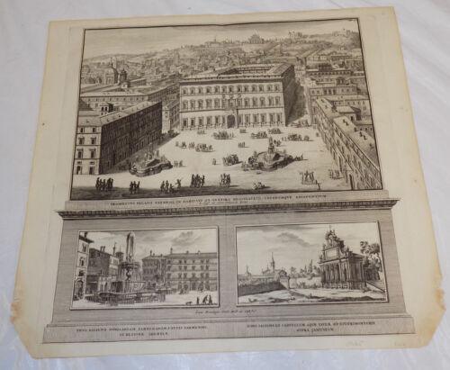 1696 Antique Print  ///  VIEW OF ROME ITALY AND THE PIAZZA DI SPAGNA