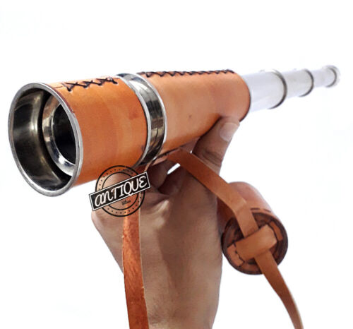 Brass Nautical Silver Telescope Orange Leather Medieval Solid Valentine Gift