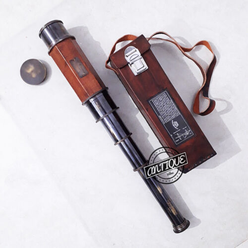 Antique Finish Brass Big Telescope Red Leather Solid New Year Gifts For Army.