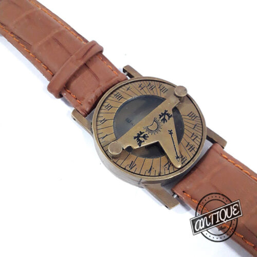 Brass Sun-dial Compass Nautical Sun Clock Wrist Leather Strap Watch Solid Gifts