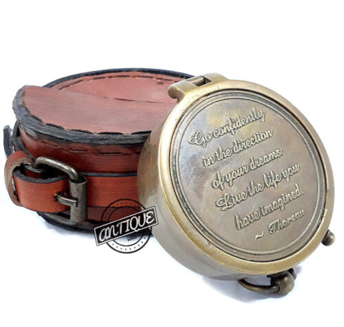 Brass Magnetic Nautical Compass Leather Case Hand-Made Solid New Year Gifts.
