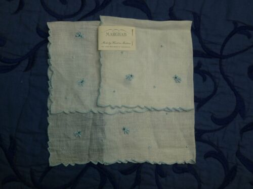 Antique Marghab Hanky Vintage Madeira Embroidery Blue Bumble Bee Handkerchief