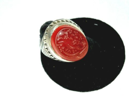 STERLING SILVER ISLAMIC MIDDLE EASTERN VERY LARGE CARNELIAN AGATE MENS RING