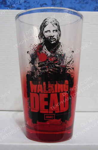 The Walking Dead Zombie Walker Red Glass Pint Mug Tumbler Cup Just Funky AMC HTF