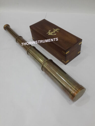 Antique Solid Brass Marine Spyglass Telescope Vintage With Anchor Wooden Box
