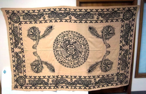 Chinese Dragon design Huge Wall Tapestry 108 x 72 inch Beige & black NEW!