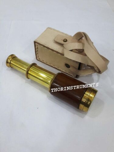 Nautical Marine Maritime Brown Wooden Telescope With Leather Box Gift