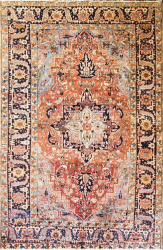 "6'10"" x 10'8"" fabulous Antique  Heriz, Serapi Oriental Carpet , . #17067"