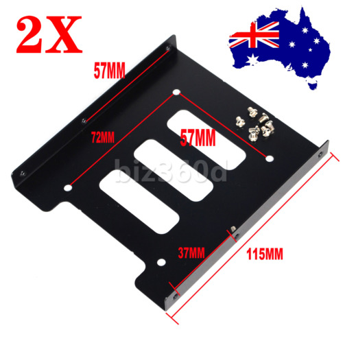 """2x 2.5"""" HDD / SSD to 3.5"""" Bay Mounting Adapter Bracket for Desktop Computer Case"""