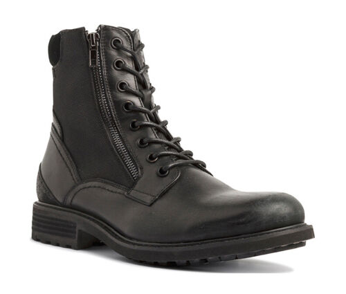 Robson Lace Up Casual Boots Black Leather/ Synthetic Eu44 US11 UK10 Moretti