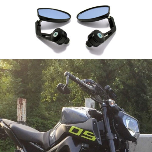 """Black Motorcycle 7/8""""/1"""" Bar End Rearview Mirror For Yamaha FZ09 FZ07 FZ03 MT125"""