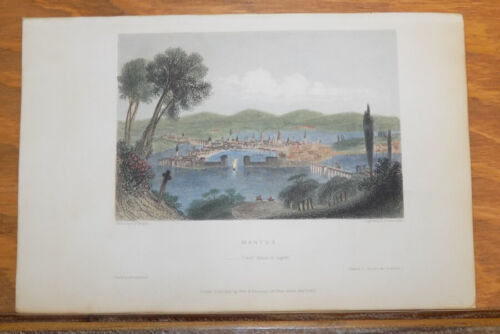 1841 Antique COLOR Print///MANTUA, LOCATED IN LOMBARDY, ITALY (via SHAKESPEARE)