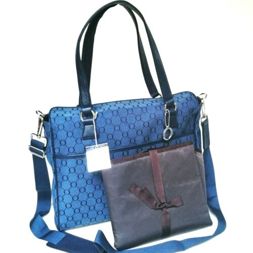 RRP$495 NEW Oroton Signature O Nappy Diaper Baby Bag Tote Handbag Navy Leather
