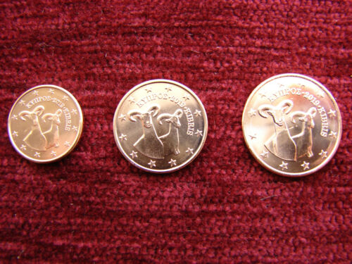Mini set coins 1cent to 5 cent UNC from roll. Cyprus 2019