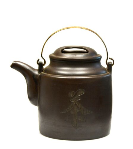 Fine Large Chinese Carved Yixing Zisha Purple Clay Ceramic Teapot with Mark