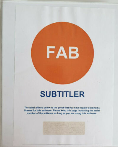 Software FAB Subtitler 3 -Professional Edition Subtitling DVD Blu-ray Production