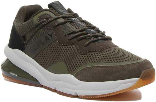 Replay Blinman Mens Mesh Trainers In Green Size UK 6 - 12