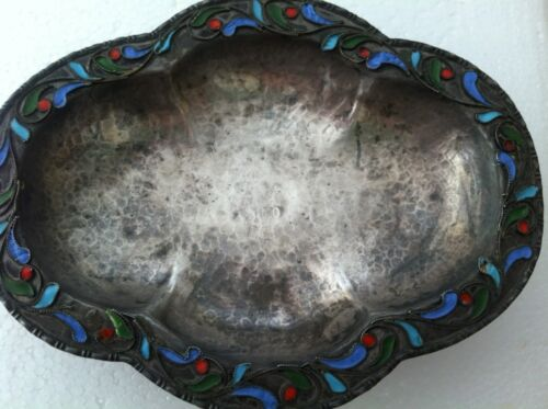 Vintage Small 1000 Silver Hand Hammered Cloisonne Enamel Footed Dish Bowl