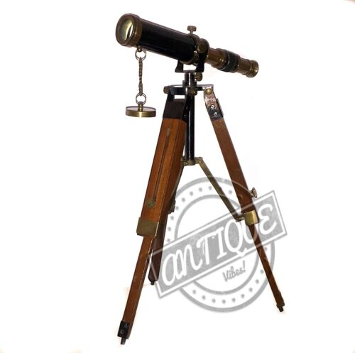 Vintage Copper Desk Vintage Ship Telescope w/Wooden Stand Tripod Home/Offic