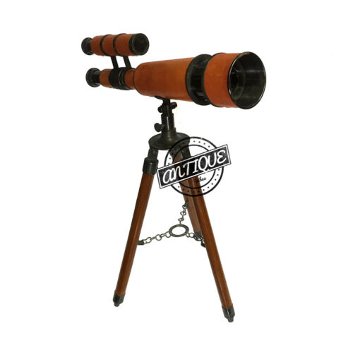 FatherDay Wooden Tripod Telescope with Stand Desk Vintage Brass Deco New Gift