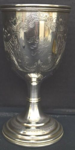 Antique Coin Silver or Continental Silver Cup or Chalice, Engraved Decoration