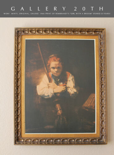 """WOW! MINT! 1966 UNUSED REMBRANDT PRINT! """"GIRL WITH A BROOM"""" DUTCH ART BEWITCHED"""