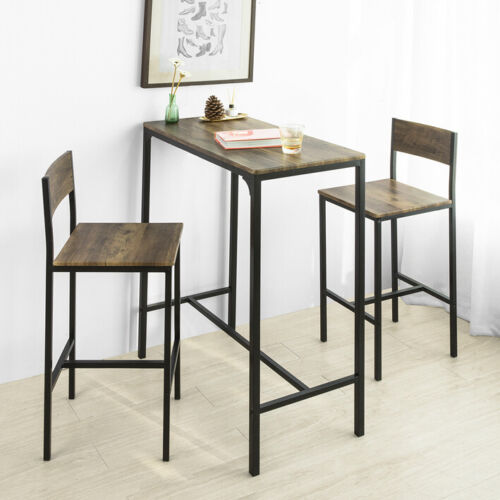 SoBuy Set 3 Pezzi Tavolo con 2 sgabelli Alto Mobile Bar per casa,OGT03-XL,IT