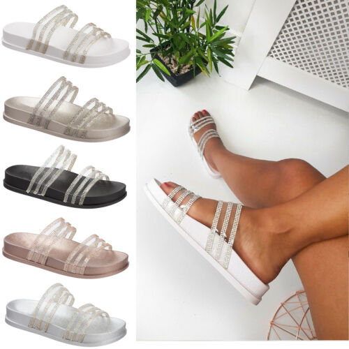 Ladies Slip On Slipper Sandals Size 3 to 9 UK - SLIDERS &  SUMMER SLIPPERS MULES <br/> FLAT & COMFORTABLE SANDALS FOR ALL USES