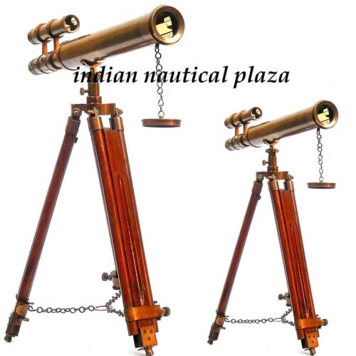ANTIQUE SPYGLASS BRASS MARINE 18 INCH TELESCOPE PIRATE WITH TRIPOD VINTAGE GIFT