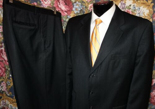 Oleg Cassini Classic-Fit Dark Charcoal Gray 3-Button Suit 44R