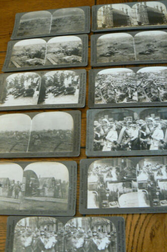 Lot 11 Antique Stereoview Cards WWI WAR Keystone American Soldiers Flanders