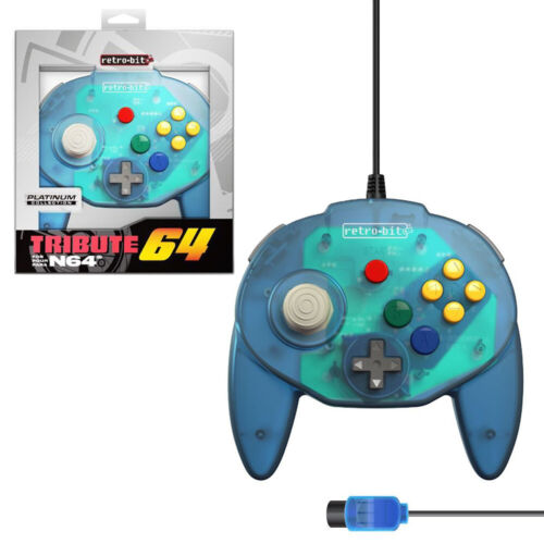 Retro-Bit Tribute64 Ocean Blue Wired Controller for N64 NEW